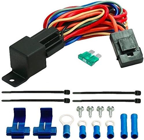 Amazon Com American Volt 40a Relay Wire Harness Dual 12 Volt Electric Radiator Fans Wiring 40 Amp Car Fan Automotive
