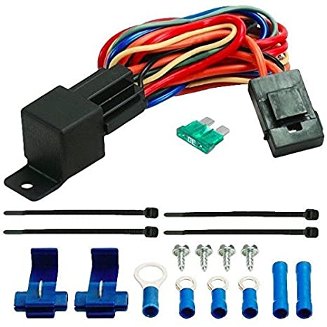 amazon com: american volt 40a relay wire harness dual 12 volt electric  radiator fans wiring 40 amp car fan: automotive