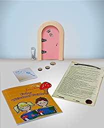 The Irish Fairy Door Company - Pink Round Door - Includes Magic Key in a Bottle, 3 Stepping Stones, Fairy Lease Agreement, Notepad, and Fairy Welcome Guide