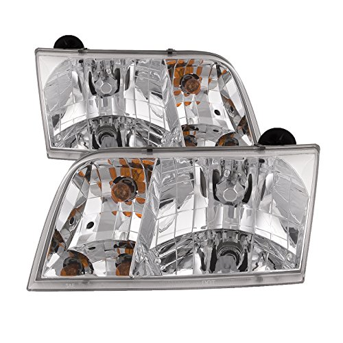 HEADLIGHTSDEPOT Compatible with Headlights Set Halogen Chrome Driver Left Passenger Right Pair Fits Ford Crown Victoria