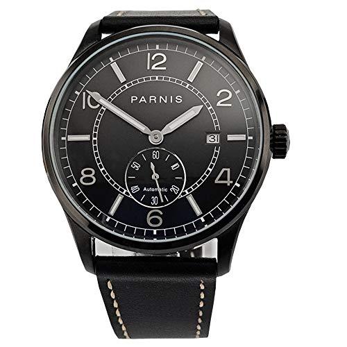 Parnis 42mm Watch PVD case Black dial Calendar Seagull Movement Automatic Mechanical Men Watch