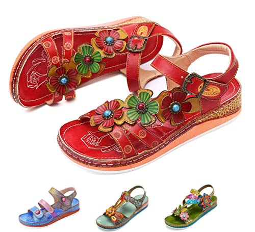 gracosy Leather Sandals for Women, Summer Flat Sandals Colorful Flower Splicing Dress Shoes Slippers Handmade Slip on Red 8 M US