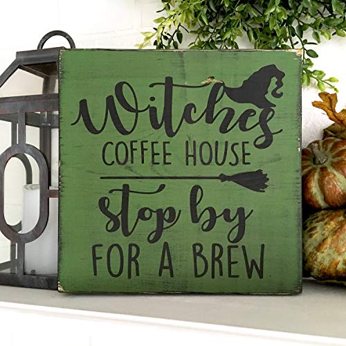 uniquepig Witches Coffee House Stop by for a Brew Halloween Wood Signs Decorations 30x30cm -