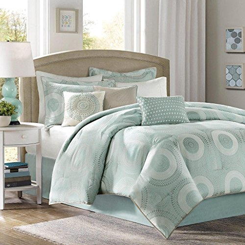 7pc Seafoam Blue Embroidered Motif Comforter Queen Set, Blue Circle Adult Bedding Master Bedroom Stylish Geometric Jacquard Pattern Luxurious Themed...  7pc bedding set | Amy Miller 7-Piece Cat Print Bed & Comforter Set 51xxjiwEyCL