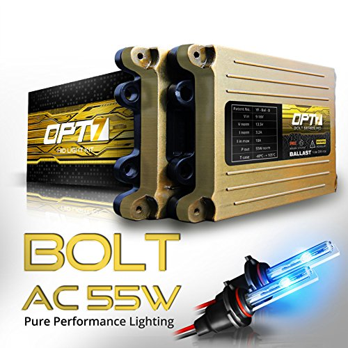 OPT7 Bolt AC 55w HID Kit - 5x Brighter - 6x Longer Life - All Bulb Sizes and Colors - 2 Yr Warranty - H7 [10000K Deep Blue Xenon Light]