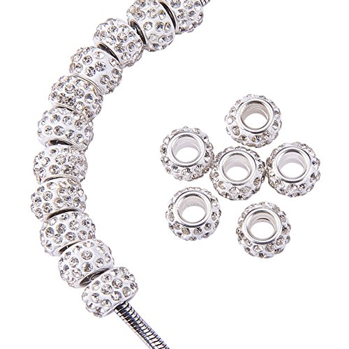 NBEADS 100Pcs Crystal Color Rhinestone European Beads, Large Hole Rondelle Spacer Beads Fit European Bracelet Snake Chain Charms - Chain Spacer