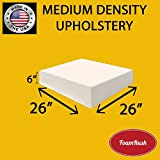 FoamRush Upholstery Foam Medium Density Firm Foam Soft Support (Chair Cushion Square Foam for Dinning Chairs, Wheelchair Seat Cushion Replacement)(6' x 26' x 26')