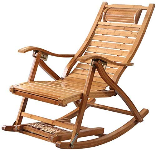 MJ-Brand Bamboo Adjustable Rocking Chair with Footstool