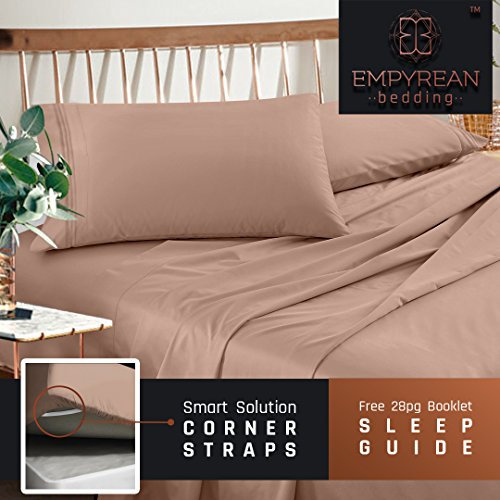 Premium Queen Size Sheets Set - Taupe Sand Hotel Luxury 4-Piece Bed Set, Extra Deep Pocket Special Super Fit Fitted Sheet, Best Quality Microfiber Linen Soft & Durable Design + Better Sleep Guide
