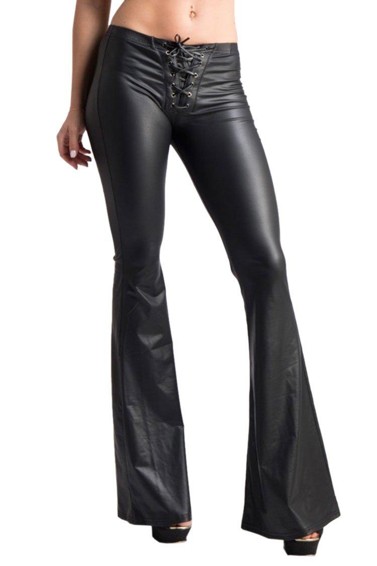 COCOLEGGINGS Women's Girls Lace Up Faux Leather Bell Bottoms Leggings Black S