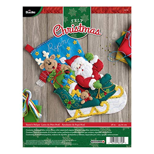 BUCILLA 86706 Felt Applique Stocking Kit Santa's Helper, Size 18-Inch