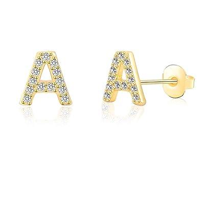 Amazon.com: Pendientes de letra inicial hipoalergénicos para ...