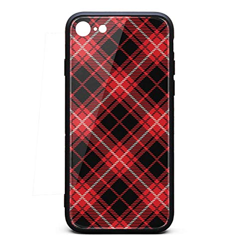 Phone Case for iPhone 6/6S Red Black Checkerboard British Plaid Mosaic TPU Protective Best Anti-Scratch Fashionable Glossy Anti Slip Thin Shockproof Soft Case