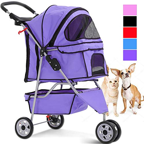 Pet Stroller Jogger Cat Dog Cage 3 Wheels Stroller Travel Folding Carrier Strolling Cart with Cup Holders and Removable Liner 35Lbs Capacity Large Doggie Stroller for Small-Medium Dogs, ()