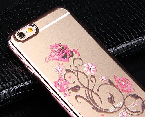 iPhone 6S / 6 Hülle,iPhone 6S Hülle,iPhone 6 Hülle,NSSTAR® iPhone 6 6S Silikon Hülle [Kristallklar Durchsichtig],Malerei Muster Glänzend Shinning Glitter Kristall Crystal Strass Kristallrhinestone Tra