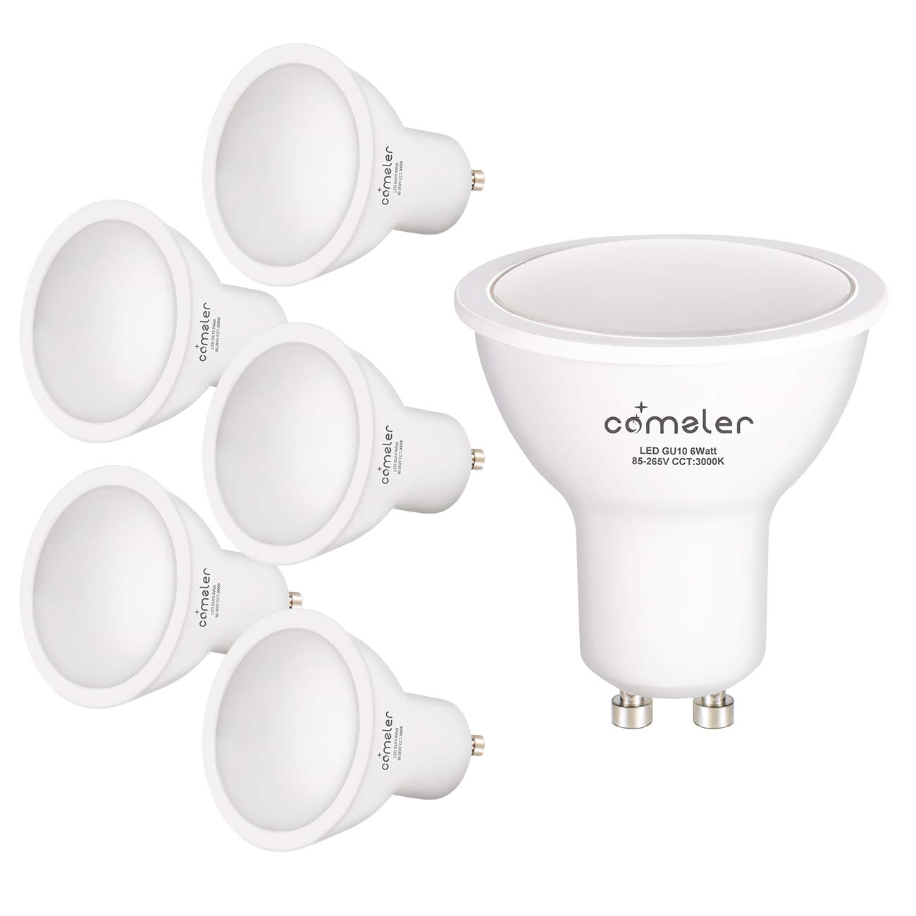 Comzler GU10 LED Bulbs, 6W (50W Equivalent), GU10 Shape Halogen Replacement Bulb, 3000K Warm White, 120°, 120V,550Lm, Not-dimmable, for Track Lighting, Indoor Recessed Cans, Pack of 6 (3000K)