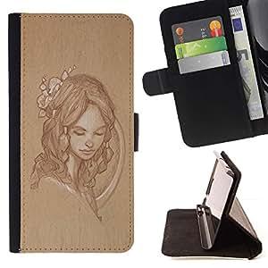 Momo Phone Case / Flip Funda de Cuero Case Cover - Retro Vintage Portrait rustique - LG Nexus 5 D820 D821