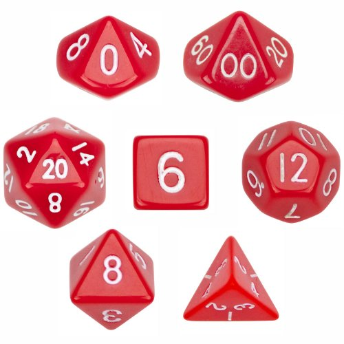 (7 Die Polyhedral Dice Set - Solid Red with Velvet Pouch By Wiz Dice)