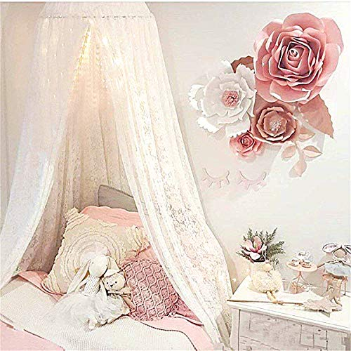 Princess Bed Canopy Lace Mosquito Net for Kids Baby , Round Dome Kids Indoor Outdoor Castle Play Tent Hanging House Decoration Reading Nook Cotton Canvas Height 270cm/107 inch (White) ()