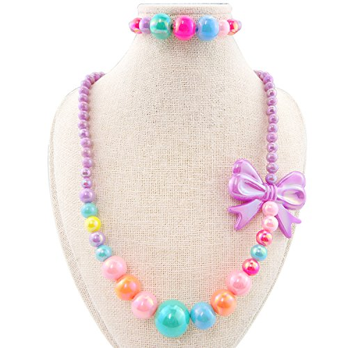 5 Colors Kid Jewelry Necklace Bracelet Stretch Set Colorful Beads Butterfly Bow for Children Toddlers (Butterfly Pendant Child)
