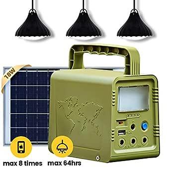 ECO-WORTHY Kit de iluminación solar de 18 W Kit de sistema completo de iluminación solar para el hogar con bombillas LED 180 lms/W para emergencias, huracanes, camping con cargador solar USB