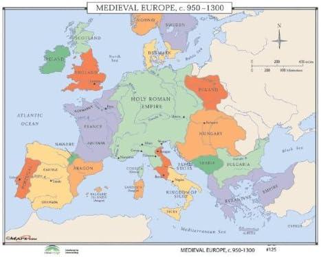 Amazon Com Universal Map 30311 125 Medieval Europe C 950