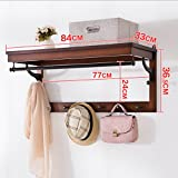 Wall-mounted Storage Rack, Solid Wood Coat Racks, Multi-functional Bedroom Wall Hangers, L84cm W33cm H36.5cm ( Color : Brown )