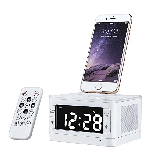 Charger Dock Station Fm Radio Alarm Clock Portable Audio Music Wireless Bluetooth Speaker for iPhone 7 7 Plus 5 6 6s SE