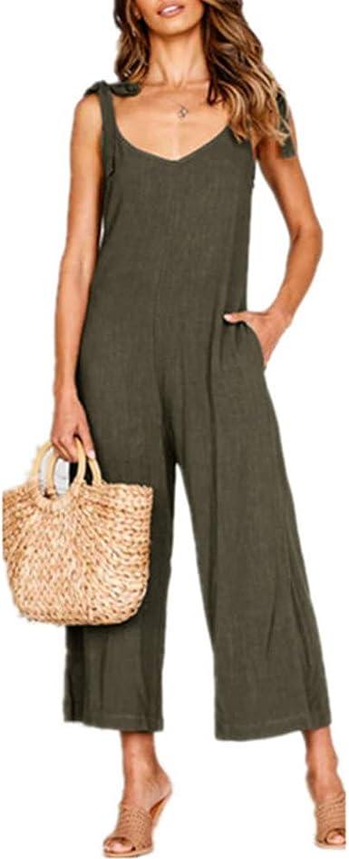Morbuy Nuovo Moda Senza Maniche Harem Jumpsuit Ragazza Overall Hippie Sciolto Cinturino Tuta con Tasche Pantaloni Incinti Donna Salopette Lunga Casual Pantaloni