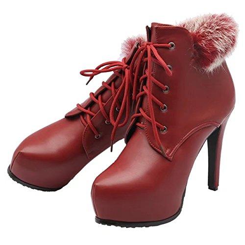 Aiyoumei Femmes Lacets Bout Rond Stilettos Automne Hiver Bottines À Fourrure Rouge