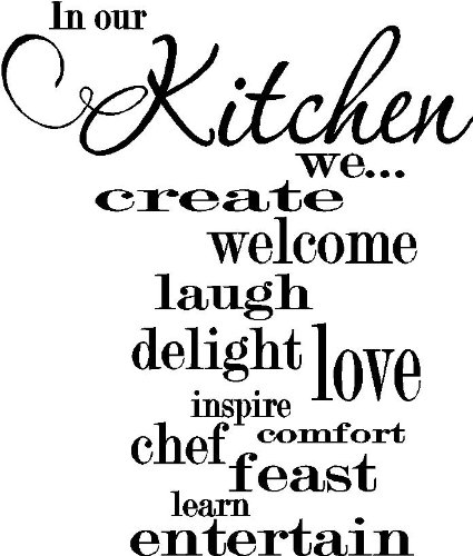 (Epic Designs in This Kitchen we. Create Welcome Laugh Delight Love Inspire Chef Feast Comfort Learn Entertain Cute Wall Art Wall Sayings Vinyl Decals)