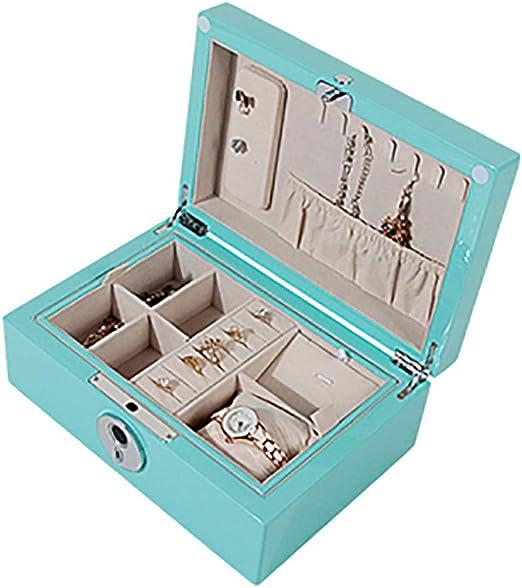 SSH-Jewelry Box Caja De Joyas, Organizador De Joyas, Estuche De Viaje PortáTil, para Anillos, Pendientes, Collares, Forro De Terciopelo (Azul): Amazon.es: Hogar