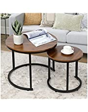 ELAUK Retro Coffee Table with Storage Modern Nesting Coffee Table Set of 2 for Living Room Balcony Office, Round Wood Accent Side Coffee Tables with Sturdy Metal Frame, Easy Assembly(Walnut)
