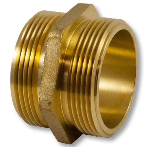 Brass Hex 2 1//2 NH to 2 1//2 NPT Double Male Fire Hose Adapter