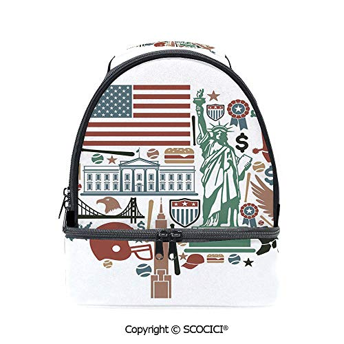 SCOCICI Large Capacity Durable Material Lunch Box Traditional Symbols in The Form of United States of America Map Travel Landmarks Flag Decorative Multipurpose Adjustable Lunch Bag