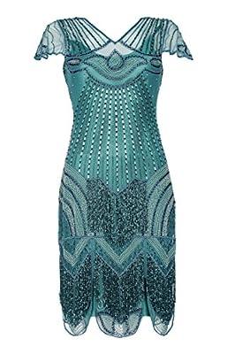 gatsbylady london Beatrice Vintage Inspired Fringe Flapper Dress in Teal - Quality Handmade Flapper Dresses for Women