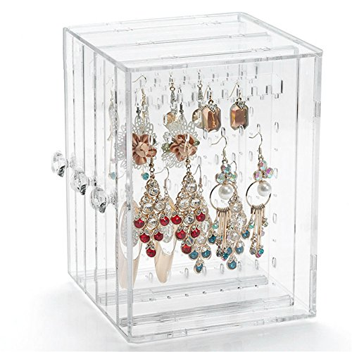 Acrylic jewelry box / earring display box earring storage box / horizontal sliding door (clear) - Amish Costume Australia
