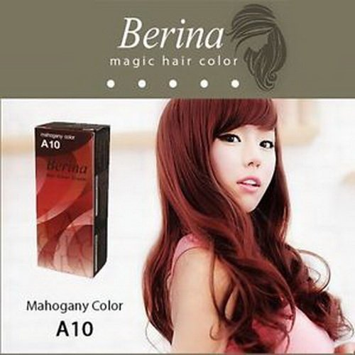 Pack of 1 Box Berina Mahogany Mahokany Hair Dye A10 Hair Color Cream Dye Mahogany 60 G. Super Permanent Fashion Unisex