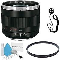 Zeiss 85mm f/1.4 Lens for Canon Digital SLR Cameras + 72mm UV Filter + Lens Cap Keeper + Deluxe Cleaning Kit DavisMAX Bundle - International Version (No Warranty)