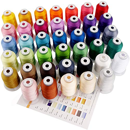 New brothreads 40 Brother Colors Polyester Embroidery Machine Thread Kit 500M (550Y) Each Spool for Brother Babylock Janome Singer Pfaff Husqvarna Bernina Embroidery and Sewing Machines