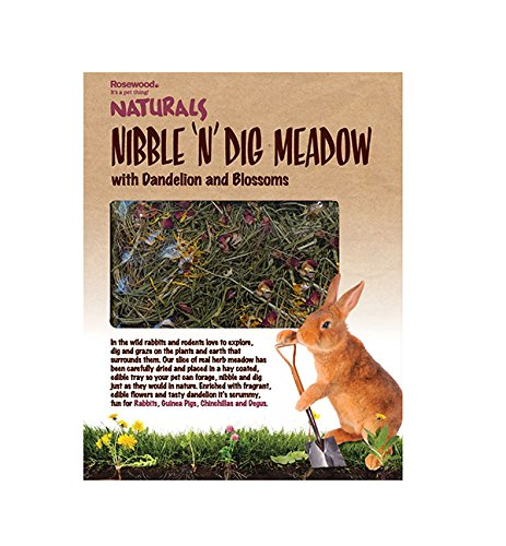 pinkwood Naturals Nibble 'n' Dig Meadow with Dandelion and Blossoms for Small Animals