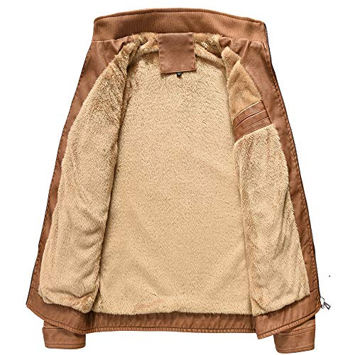 Men's PU Leather Jackets Stand Collar Zip Front Lightweight Outerwear Coats Thick Long Sleeve by Allywit (Image #2)