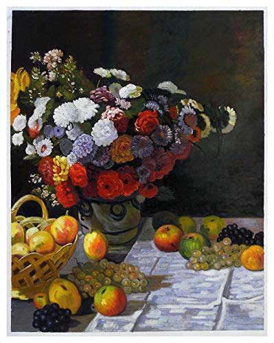 (Flowers and Fruits - Claude Monet hand-painted oil painting reproduction,still life of beautiful various flowers art,dinning room wall decor)
