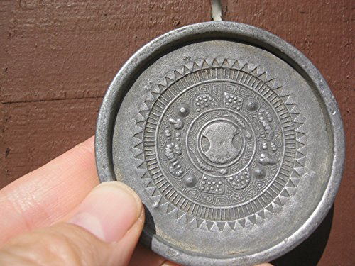 Antique Chinese tin Plaque with 4 Signs of Zodiac & Seal on The Back