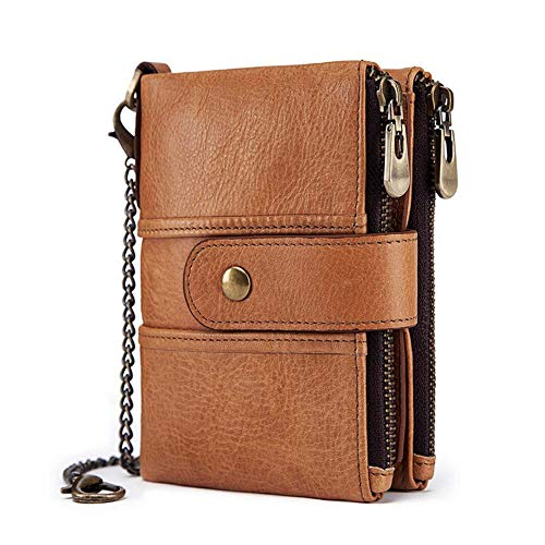 Boshiho Real Leather RFID Blocking Bifold Wallets for Men Double Zipper Coin Pocket Purse with Anti-Theft Chain (Tan) (Wallet With Coins Pocket)