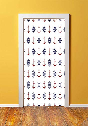 Anchor 3D Door Sticker Wall Decals Mural Wallpaper,Maritime Decor Design Anchors and Ship Wheels on the White Background Print,DIY Art Home Decor Poster Decoration 30.3x78.6065,Navy Blue and Ruby