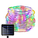 WONFAST Solar Rope Lights Outdoor, 39ft 100LED LED Rope Lighting Waterproof Copper Wire Rope String Light for Christmas Home Garden Patio Parties Decor (Multicolor)