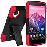 Amzer Double Layer Hybrid Case Cover with Kickstand for LG Nexus 5 D820, Google Nexus 5 D820 (Fit All Carriers)-Retail Packaging-Black/Red