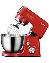 Comfee 2.6Qt Die Cast 7-in-1 Multi Function Tilt-Head Stand Mixer with SUS Mixing Bowl, Whisk, Hook, Beater, Splash Guard.4 Outlets, 7 Speeds & Pulse, 15 Minutes Timer Planetary Mixer (Red)