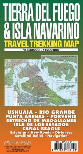 Tierra Del Fuego & Isla Navarino Map: Ushuaia - Rio Grande - Magallanes - Beagle - Isla De Los Estados